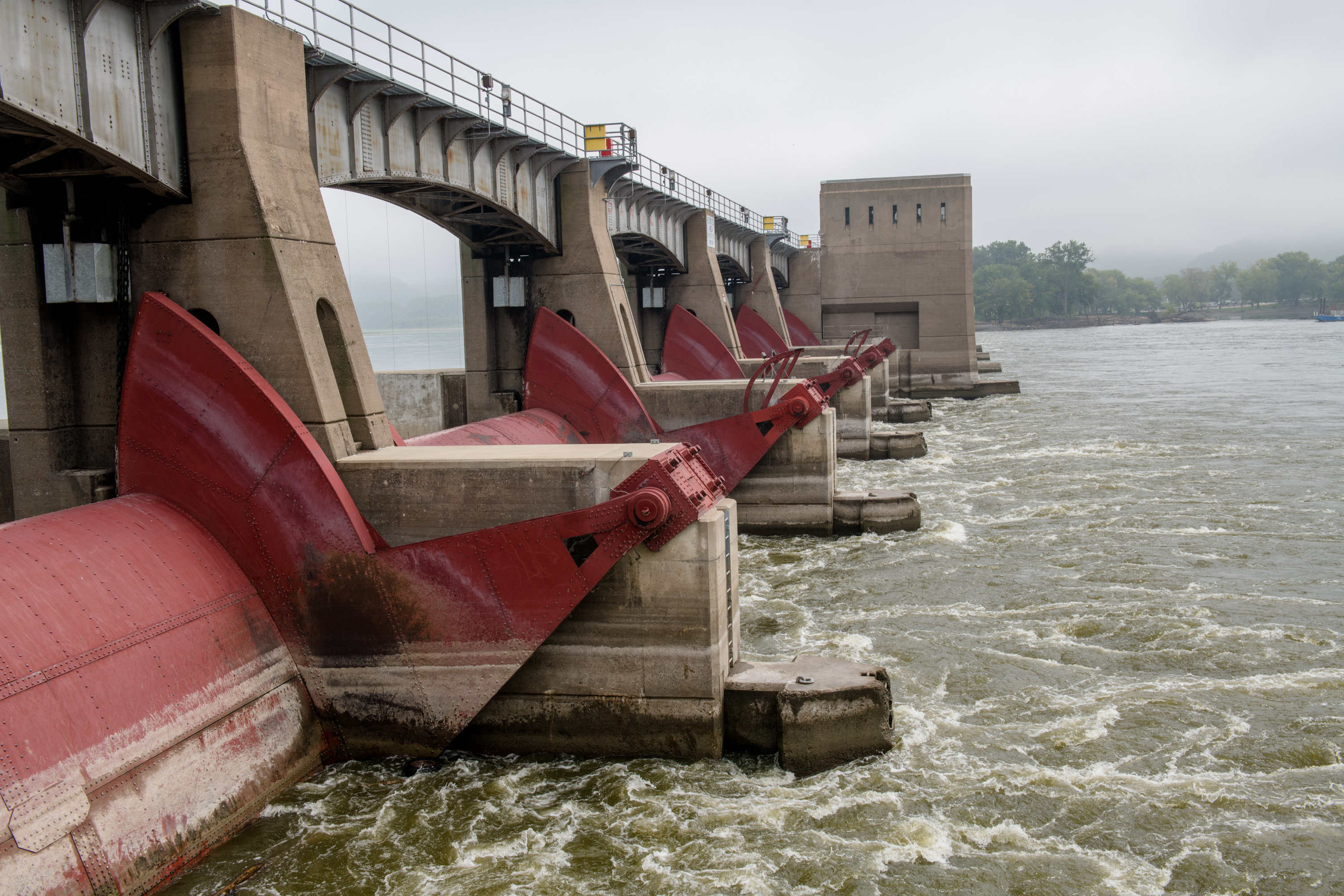 Closeup of lock and dam along the Mississippi