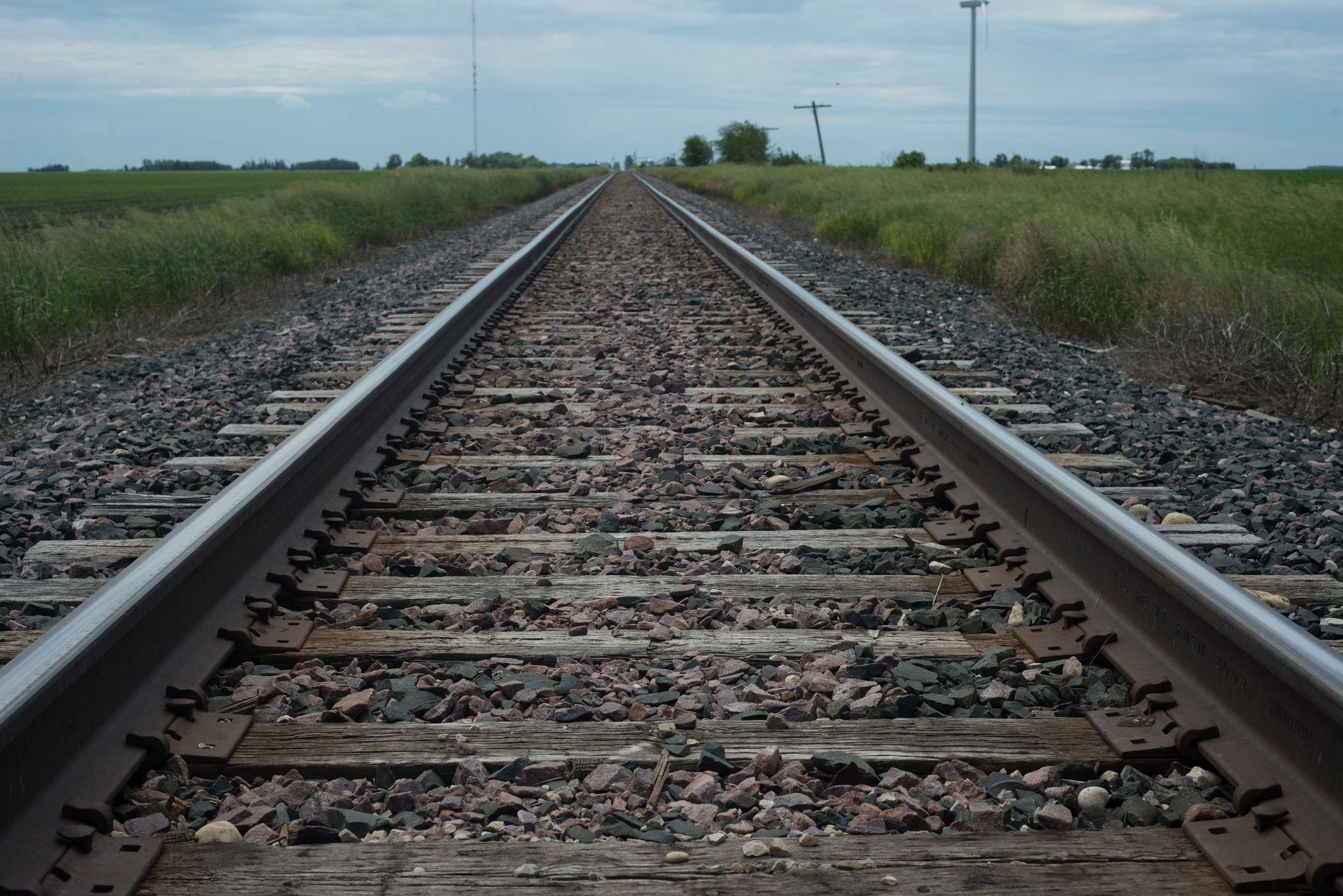 Close-up of railroad tracks running through the country